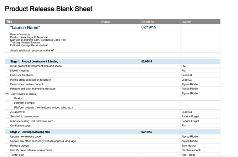 Product Release Plan